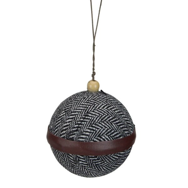 """4"""" Black and White Houndstooth With Brown Strip Fabric Christmas Ball Ornament. Opens flyout."""