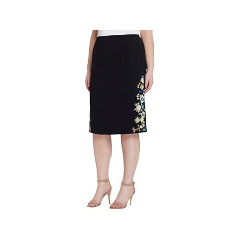 Tahari ASL Womens Plus Pencil Skirt Embroidered Office