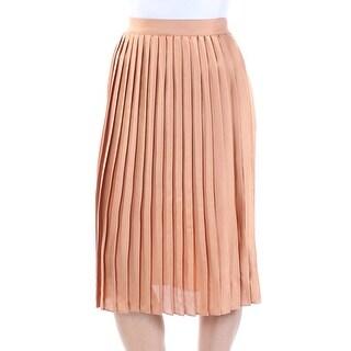 MAISON JULES $70 Womens 1068 Brown Accordion Pleat Wear To Work Skirt 2XS B+B