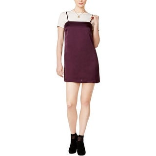 Kensie Womens Slip Dress Layered-Look Short Sleeves