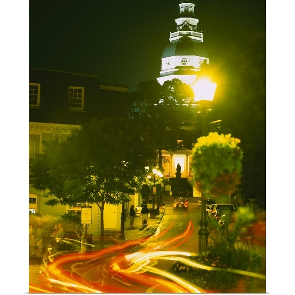 """High angle view of a downtown street, Annapolis, Maryland"" Poster Print"