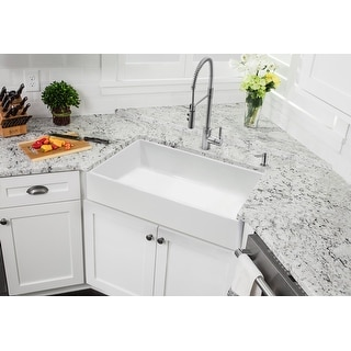 Link to Soleil White Fireclay Single Bowl Farmhouse Apron-Front Kitchen Sink Similar Items in Sinks
