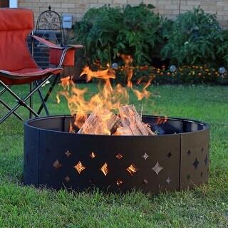 Sunnydaze Heavy-Duty Diamond Cut Out Campfire Fire Ring - 36-Inch Diameter