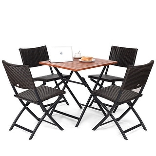 Costway 5PCS Outdoor Folding Patio Dining Set 4 Deck Sling Back Rattan Chairs Table - Set of 5