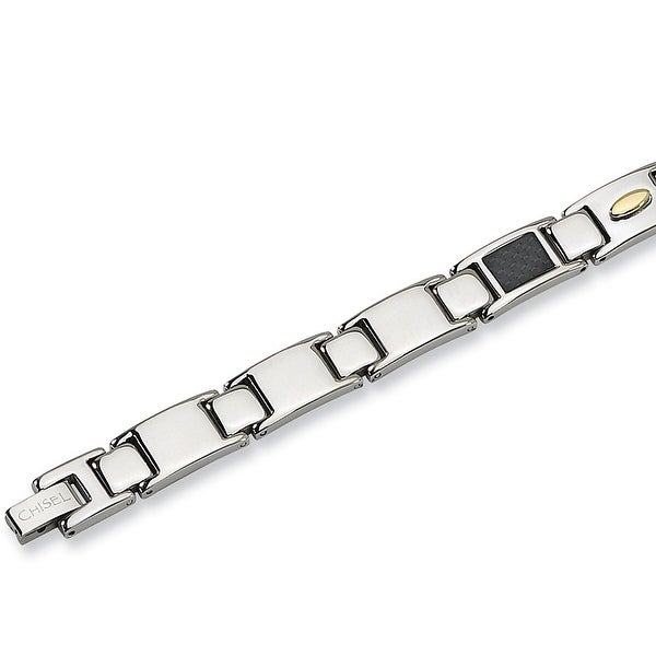 Chisel Gold-Plated Black Carbon Fiber Stainless Steel Bracelet - 9.5 Inches