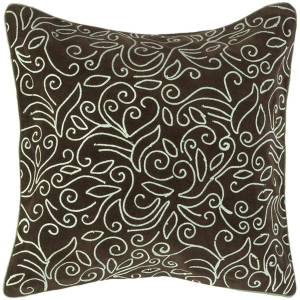 "18"" Scrolling Leaves Brown & Ivory Decorative Square Throw Pillow - Down Filler"
