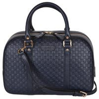 Gucci Women's 510286 Micro GG Blue Leather Convertible Medium Satchel Purse - Navy Blue