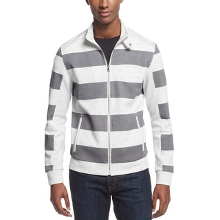 INC International Concepts Cloud Grey Striped Full Zip Sweater XX-Large - 2XL
