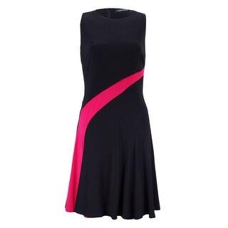Lauren Ralph Lauren Women's Petite Color Contrast Jersey Dress - Black/Pink - 10P