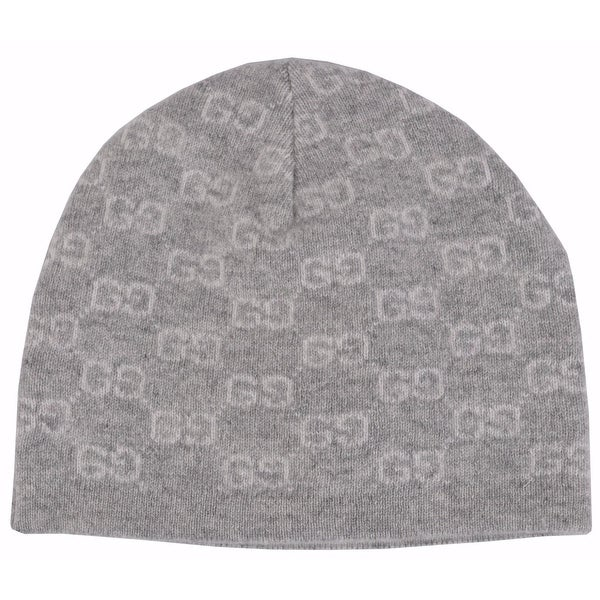 90c7d8073 Gucci Men  x27 s 387577 100% Cashmere Grey GG Guccissima Beanie Ski Winter