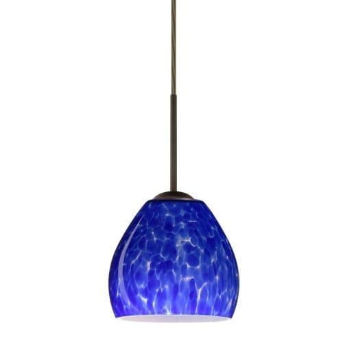 Besa Lighting 1BT-412286 Bolla 1 Light Cord-Hung Mini Pendant with Blue Cloud Glass Shade