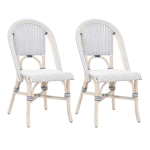 Rattan Dining Chair with Woven Back and Seat, Set of 2, Blue and White