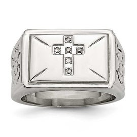 Stainless Steel Diamond Cross with Textured Sides Polished Ring (13.3 mm)