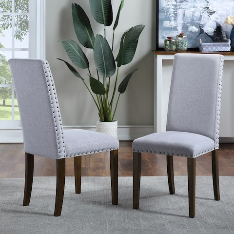 Moda Set of 2 Upholstered Dining Chairs with Copper Nails and Solid Wood Legs