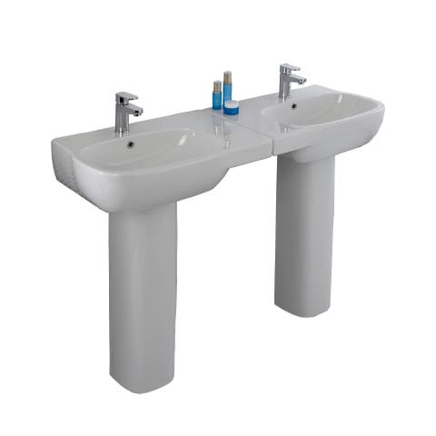 "Bissonnet MD4011-4411-4910 Moda 26"" Rectangular Vitreous China Pedestal Bathroom Sinks with Overflow and One Faucet Hole"