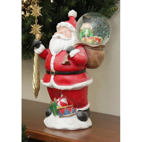 """11"""" Santa Claus with Toy Sack Glitterdome Snow Globe Christmas Table Top Figure - RED"""