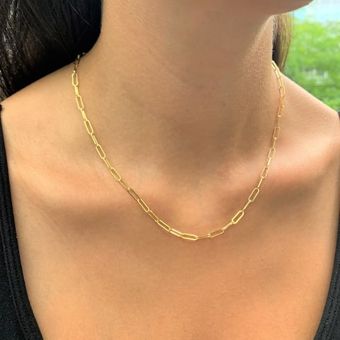 Joelle Gold Link Chain Women's Necklace - 14K Paperclip Link Chain For Her