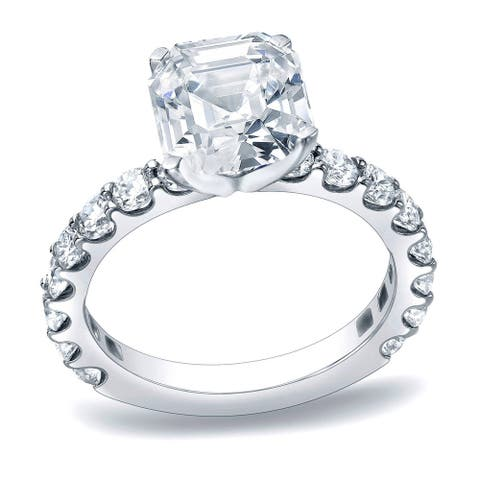 Auriya 1 3/4ctw Asscher Diamond Engagement Ring Platinum Certified