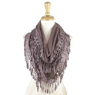 Women's Fancy Lace Fringes Triangle Scarf - Light purple