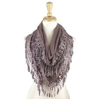 Women's Fancy Lace Fringes Triangle Scarf - Light purple