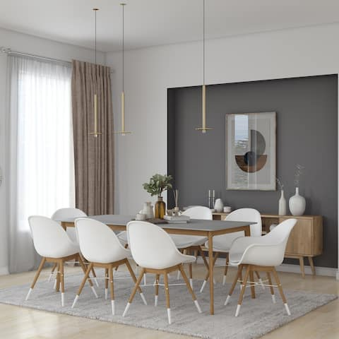 Midtown Concept Brune 9pc Wood Indoor Dining Set - With Cushions