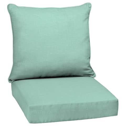 Arden Selections Leala Aqua Texture Outdoor Deep Seat Cushion Set - 24 W x 24 D in.
