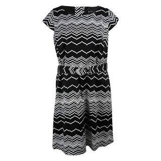 Spence Women's Cap Sleeve Belted Chevron A-Line Dress - 20W