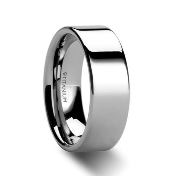 1e3dfa74d Shop HARDY Polished Finish Flat Style Men's Titanium Wedding Ring - 8mm -  On Sale - Free Shipping Today - Overstock - 19838754