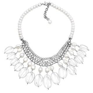 Honora Baroque Freshwater Pearl & White Quartz Bib Necklace in Sterling Silver