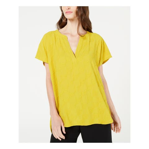 ALFANI Womens Gold Short Sleeve V Neck Top Size PS
