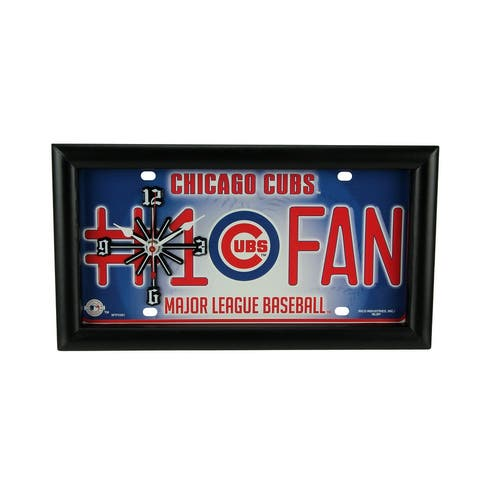 MLB Chicago Cubs Number 1 Fan License Plate Mantel or Wall Clock - 7 X 13 X 1.5 inches