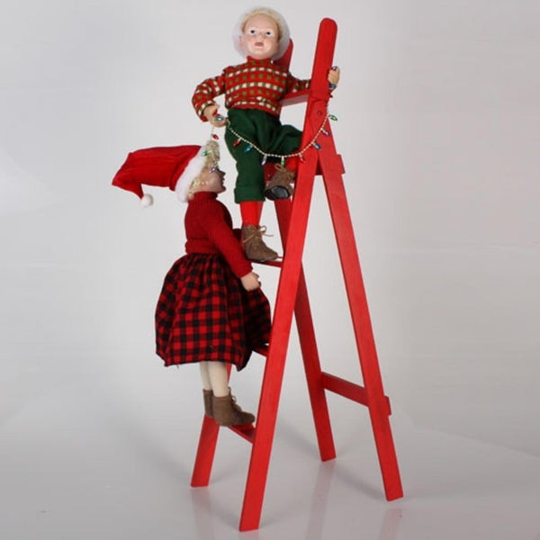 "36"" Whimsical Kids Hanging Lights on Red Ladder Christmas Decoration"