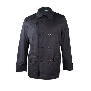 Lauren Ralph Lauren Men's Double-Breasted Raincoat (40L, Black) - Black - 40l