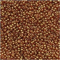 Toho Round Seed Beads 15/0 421 'Gold Lustered Transparent Pink' 8g