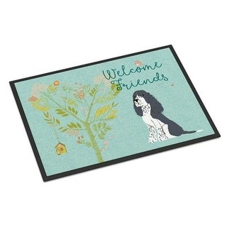 Carolines Treasures BB7621MAT Welcome Friends Black Springer Spaniel Indoor or Outdoor Mat 18 x 27 in.