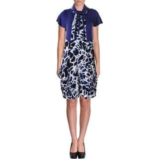 Kensie Womens Juniors Printed Short Sleeves Casual Dress