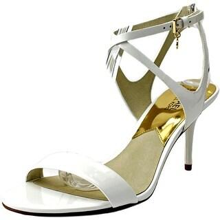 Michael Michael Kors Kaylee Mid Women Open Toe Patent Leather White Sandals