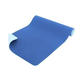 "ProsourceFit Natura TPE Yoga Mat 1/4"" Thick 72"" Long Reversible Non-slip Eco-conscious Hygienic Blue - 72L x 24W x ¼T"