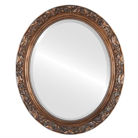 Rome Framed Oval Mirror in Sunset Gold