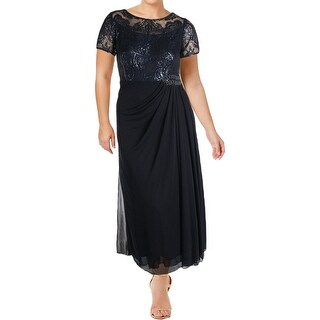 Alex Evenings Womens Petites Evening Dress Sequined Gathered Waist (2 options available)