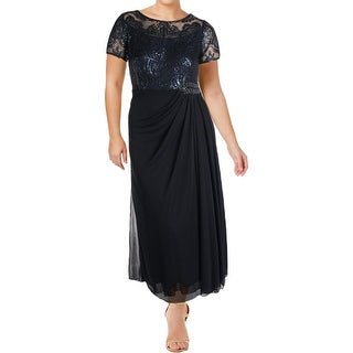 Alex Evenings Womens Petites Evening Dress Sequined Gathered Waist