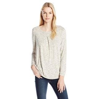 Kensie Long Sleeve Space Dye Top Shirt - xL