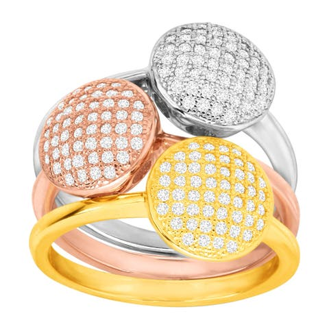 Set of Three Stacking Rings with Cubic Zirconia in 18K Three-Tone Gold-Plated Sterling Silver - White