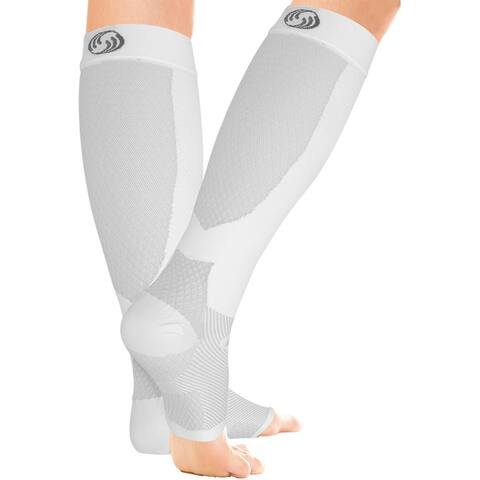 OrthoSleeve FS6+ Compression Foot and Calf Sleeves - White