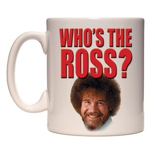 Bob Ross Who's the Ross Mug -Funny Ceramic Bob Ross Face Coffee Cup Holds 15 Oz. - White - 3.75 Inch