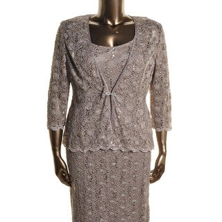 R & M Richards Womens Lace Sequined Dress With Jacket