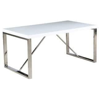 2xhome Modern Mid Century White Glossy Paint Wood top Silver Chrome Steel  Leg Base Rectangle Dining. Square Office Furniture For Less   Overstock com