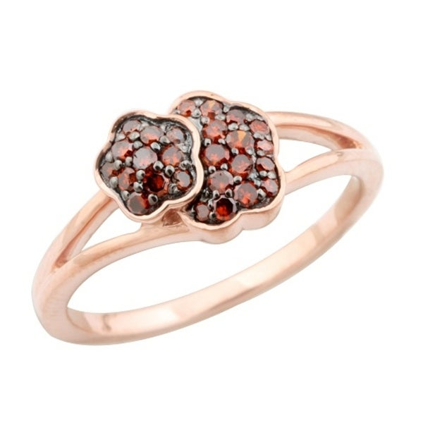 Beautiful 0.25 Carat Cognac Diamond Rose Gold Plated Cluster Ring