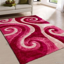Allstar Pink Shaggy Area Rug with 3D Spiral Design. Contemporary Formal Hand Tufted (5' x 7')