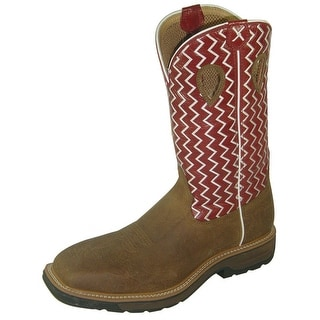 Twisted X Work Boots Mens Leather Lite Work 7 D Saddle Cherry MLCW001